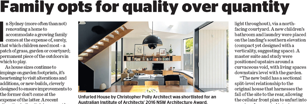 Unfurled House has been published in Domain's 'Amazing Design on Sunday'