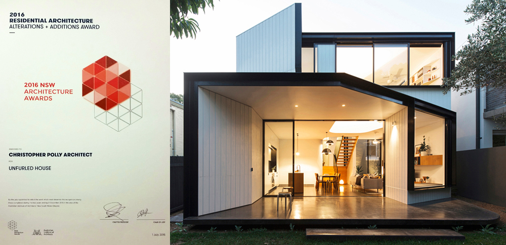 Unfurled House has received an Architecture Award in the 2016 AIA NSW Architecture Awards