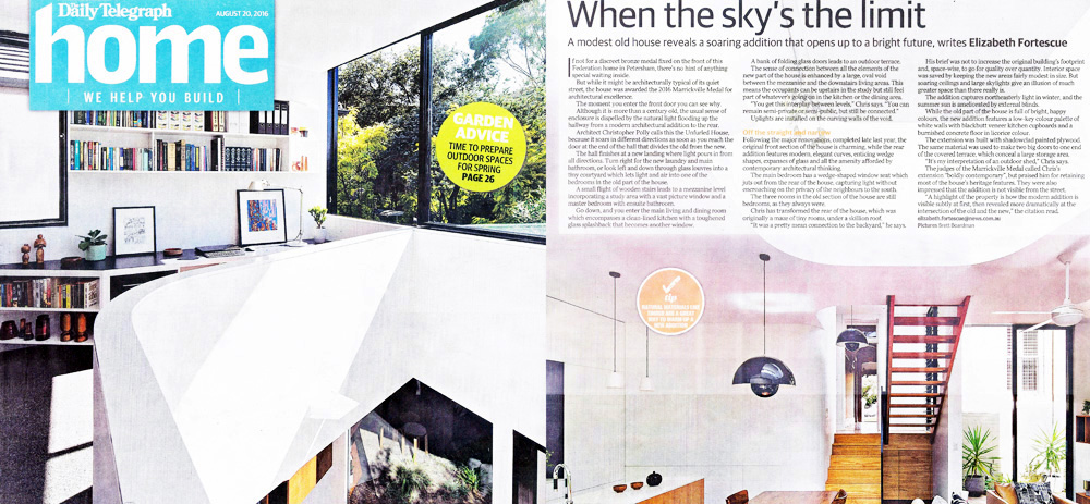 Unfurled House has been published in the Daily Telegraph's Home magazine