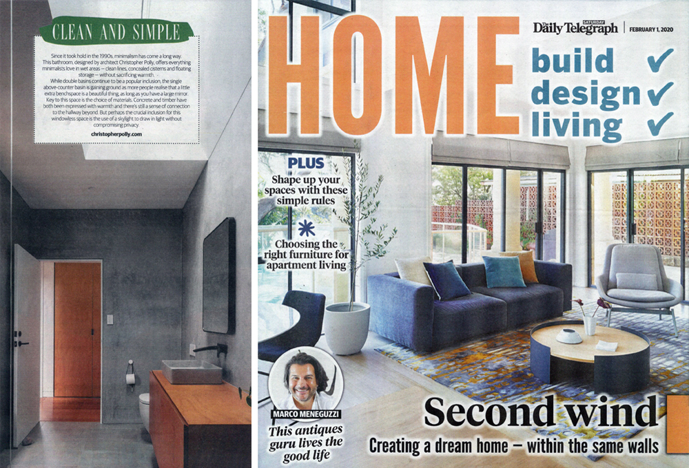 Binary House bathroom published within the Daily Telegraph's Home magazine