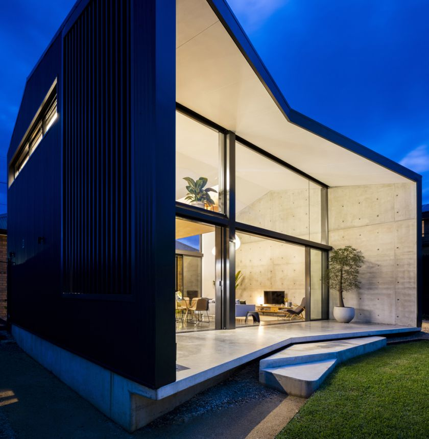Binary House exterior night view