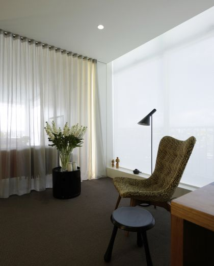 Darling Point Penthouse sitting area & retractable curtain