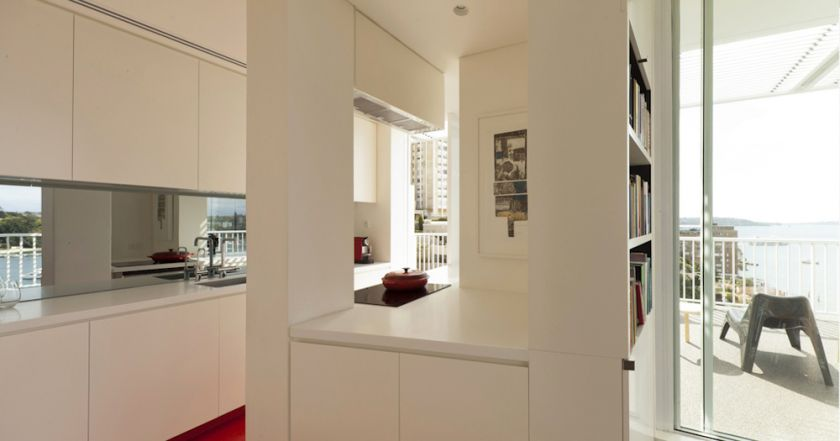 Darling Point Penthouse kitchen with view to terrrace