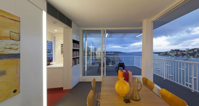 Darling Point Penthouse dining room with view to kitchen & terrace