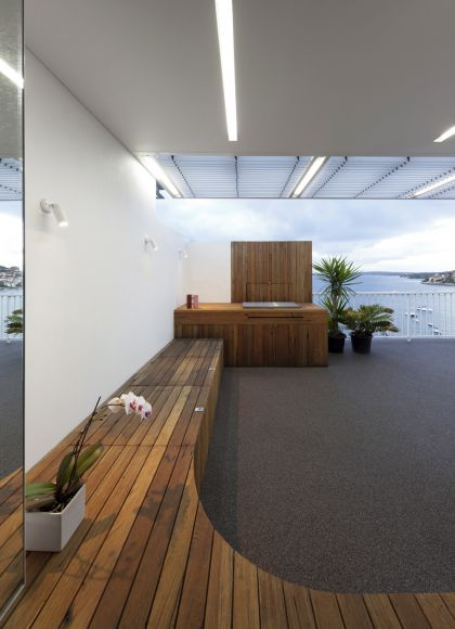 Darling Point Penthouse terrace, pergola & built-in bench and bbq joinery