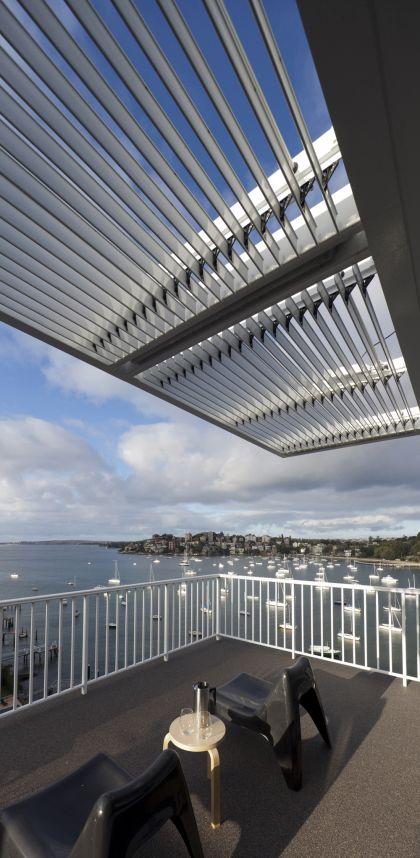 Darling Point Penthouse terrace & pergola with view to harbour