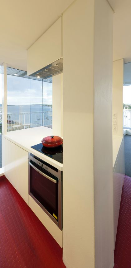 Darling Point Penthouse kitchen with view to harbour