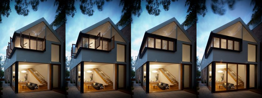Elliott Ripper House opening and closing sequence of rear doors & pivot windows
