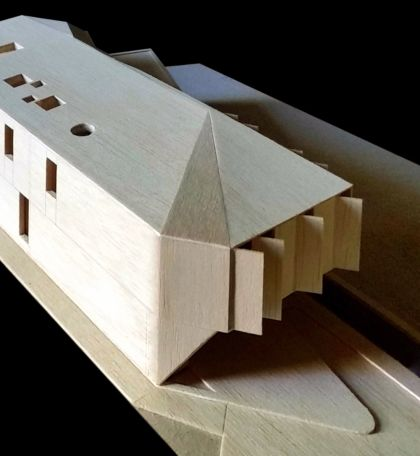 Flexion House model southeast aerial view