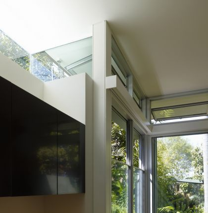 Hird Behan House interior of steel plate window & joinery details