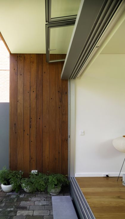 Hird Behan House exterior timber wall & manufactured steel beam details