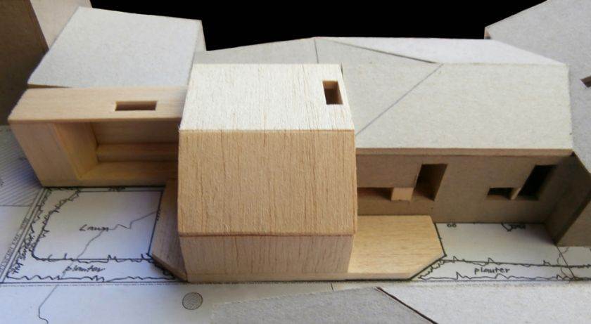 Pugh Drinan House exterior aerial view of model