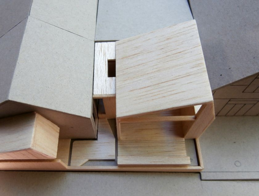 Spiers House aerial view of model