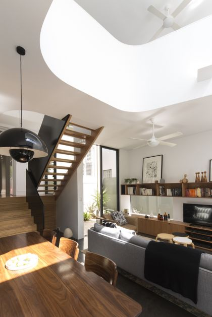 Unfurled House interior view to stair and living space