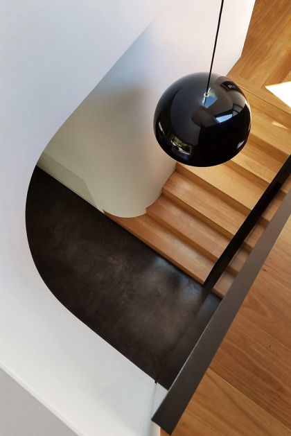 Unfurled House interior stair and double curved walls detail