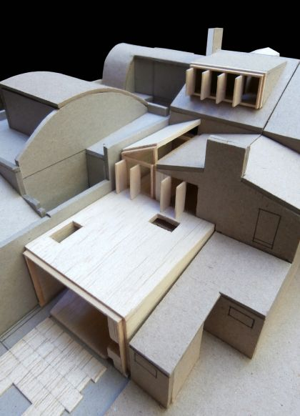 Weigh May House oblique aerial view of model