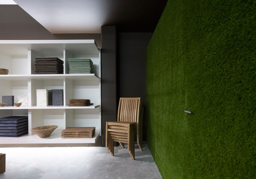Wintons Teak Showroom joinery display & turf wall