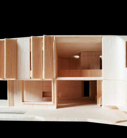 Flexion House model view to northern double height space, bridge and void