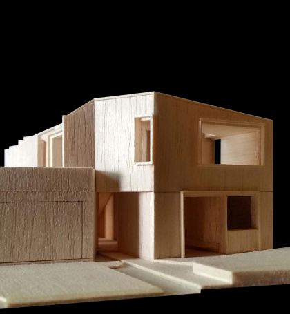 Flexion House model detail view from the street