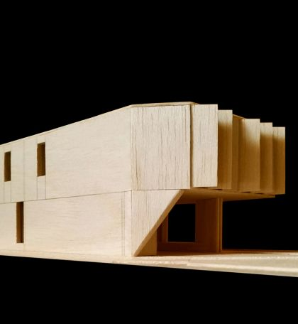 Flexion House model detail view from the southeast